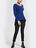 Women's Daily Holiday Street chic Fall T-shirt,Solid Round Neck Long Sleeves Polyester Thin