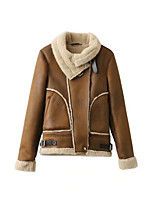 Women's Casual/Daily Simple Winter Trench Coat,Solid Round Neck Long Sleeve Regular PU