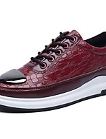 Men's Shoes PU Spring Fall Comfort Sneakers Lace-up For Casual Burgundy Black