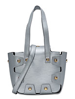 Women Bags All Seasons PU Tote Buttons Tiered for Shopping Casual Black Silver Yellow Wine