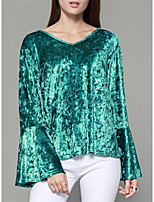 Women's Going out Casual Winter Spring T-shirt,Solid V Neck Long Sleeves Polyester Medium