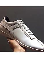 Для мужчин обувь Кожа Весна Осень Удобная обувь Кеды Назначение Повседневные Белый Черный