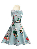 Girl's Daily Going out Holiday Solid Floral Dress,Polyester Summer Half Sleeves Floral Blue