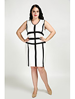 Cute Ann Women's Plus Size Casual/Daily Sexy Simple Cute Shift Dress,Color Block Round Neck Knee-length Sleeveless Cotton Polyester All Seasons