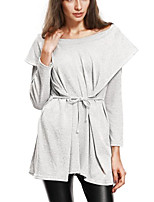 Women's Daily Going out Casual Sexy Summer Fall T-shirt,Solid Hooded Long Sleeves Polyester Medium