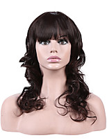 Women Synthetic Wig Capless Medium Length Curly Dark Brown/Dark Auburn Natural Hairline Layered Haircut Party Wig Halloween Wig Cosplay