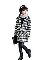 Girls' Check Jacket & Coat,Wool Cotton Fall Winter Long Sleeve