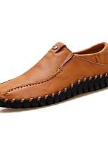 Hombre Zapatos Semicuero Cuero Primavera Otoño Confort Zapatos de taco bajo y Slip-On Combinación Para Casual Negro Marrón Wine