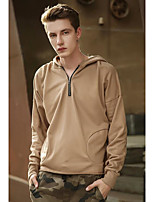Men's Sports Holiday Hoodie Solid Hooded Micro-elastic Polyester Long Sleeve Spring Fall