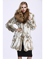 Women's Daily Sophisticated Winter Fur Coat,Color Block Shirt Collar Long Rabbit Fur Raccoon Fur