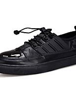 Для мужчин обувь Полиуретан Весна Осень Удобная обувь Кеды Шнуровка Назначение Повседневные Черный Темно-синий