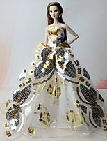 Robes Robes Pour Poupée Barbie Doré Robes Pour Fille de Jouets DIY
