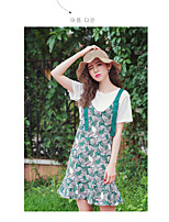 Women's Going out Casual Summer T-shirt Skirt Suits,Floral Round Neck Short Sleeve Pleated Modal Micro-elastic