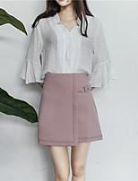 Недорогие -Для женщин На каждый день Лето Блуза V-образный вырез,Изысканный Однотонный Лён