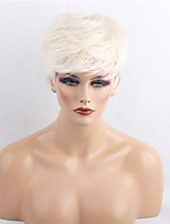 Women Human Hair Capless Wigs Beige Blonde//Bleach Blonde White Medium Auburn Black Short Straight Side Part