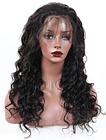 Women Human Hair Lace Wig Peruvian Human Hair 360 Frontal 180% Density With Baby Hair Loose Wave Wig Black Medium Length
