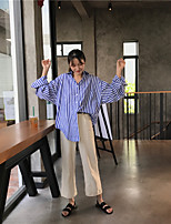 Women's Going out Casual Shirt,Solid Striped Stand Long Sleeves Cotton