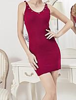 Damen Bodycon Kleid-Ausgehen Lässig/Alltäglich Street Schick Solide Gurt Mini Ärmellos Baumwolle Frühling Mittlere Hüfthöhe