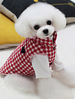 Dog Vest Dog Clothes Casual/Daily Plaid/Check Black Red