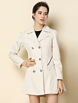 Women's Daily Going out Sweet Style Leisure Winter Fall Trench Coat,Solid Shirt Collar Long Sleeve Long Acrylic Polyester Oversized