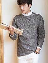 Herren Standard Pullover-Lässig/Alltäglich Solide Rundhalsausschnitt Langarm Baumwolle Herbst Mittel Mikro-elastisch
