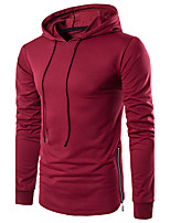 Men's Daily Sports Holiday Hoodie Solid Hooded Micro-elastic Cotton Polyester Long Sleeve Winter Fall