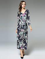 Для женщин Для вечеринок На выход На каждый день Секси Винтаж Изысканный А-силуэт Платье Цветочный принт,V-образный вырез Средней длины