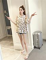 Tee-shirt Femme,Fleur Vacances Sortie Mignon Eté Manches Courtes Epaules Dénudées Coton Lin Moyen