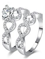 Homens Mulheres Anéis Grossos Anel de noivado Zircônia Cubica Zircão Liga Forma Geométrica Jóias Para Casamento Festa Noivado Cerimônia