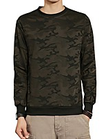 Men's Daily Plus Size Casual Sweatshirt Camouflage Round Neck Micro-elastic Polyester Spandex Long Sleeve Winter Fall