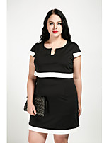 Cute Ann Women's Plus Size Casual/Daily Vintage Simple Cute Shift Dress,Color Block V Neck Above Knee Short Sleeves Cotton Polyester All Seasons