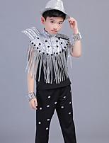 vamos a jazz trajes de rendimiento de los niños spandex borla (s) sin mangas tops altos