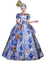 Victorian Rococo Costume Female Adults' Party Costume Masquerade Blue Vintage Cosplay Satin Short Sleeves Floor Length