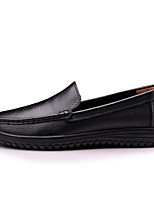 Men's Shoes Real Leather Spring Fall Comfort Loafers & Slip-Ons Split Joint For Casual Dark Brown Black