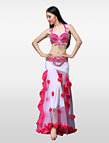 Belly Dance Outfits Women's Performance Cotton Polyester Chinlon Pleated Flower(s) Crystals/Rhinestones Paillette 3 Pieces Dropped Skirts