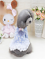 Dog Dress Dog Clothes Bohemian Style Solid Blue Pink Costume For Pets