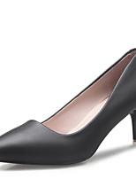 Mujer Zapatos Cuero Patentado Primavera Otoño Confort Pump Básico Tacones Para Casual Blanco Negro Beige