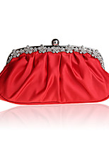 Women Bags All Seasons Silk Evening Bag Crystal Detailing Ruffles for Wedding Event/Party Red Purple Almond Fuchsia Wine
