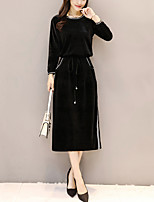 Ample Robe Femme Sortie Grandes Tailles Couleur Pleine Col Arrondi Midi Manches Longues Polyester Automne Hiver Taille Normale