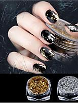 1 boîte or / argent paillettes en aluminium flocons effet miroir magique poudres paillettes ongles gel vernis chrome pigment décorations