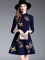 Women's Daily Going out Cute Casual Street chic A Line Sheath Swing Dress,Embroidered Stand Above Knee 3/4 Length Sleeves Cotton Polyester