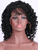 Women Synthetic Wig Lace Front Medium Length Long Curly Kinky Curly Black Party Wig Celebrity Wig Halloween Wig Cosplay Wig Natural Wigs