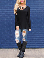 Women's Daily Holiday Street chic Fall T-shirt,Solid V Neck Long Sleeves Cotton