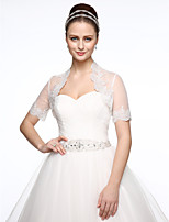 Lace Tulle Wedding Party / Evening Women's Wrap With Applique Lace Shrugs