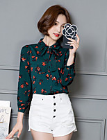 Women's Daily Cute Spring Fall Shirt,Floral Stand Long Sleeves Polyester Medium