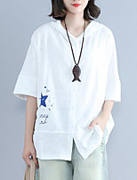 Women's Daily Casual T-shirt,Print Hooded Short Sleeves Cotton