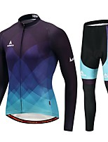 Miloto Cycling Jersey with Tights Men's Long Sleeves Bike Clothing Suits Stretchy Autumn/Fall Winter Cycling/Bike Bule/Black