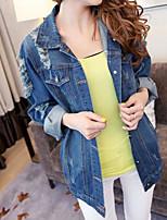 Feminino Jaqueta jeans Casual Simples Outono,Sólido Padrão Acrílico Colarinho de Camisa Manga Longa