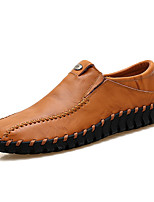 Men's Shoes Leather Fall Winter Moccasin Comfort Loafers & Slip-Ons For Casual Office & Career Wine Brown Black