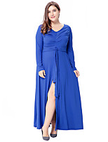 Women's Party Plus Size Going out Casual/Daily Vintage Simple Sophisticated Loose Sheath Swing Dress,Solid V Neck Maxi Long Sleeves
